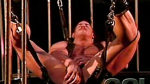Big hairy muscled man fucks his ass with a gigantic toy